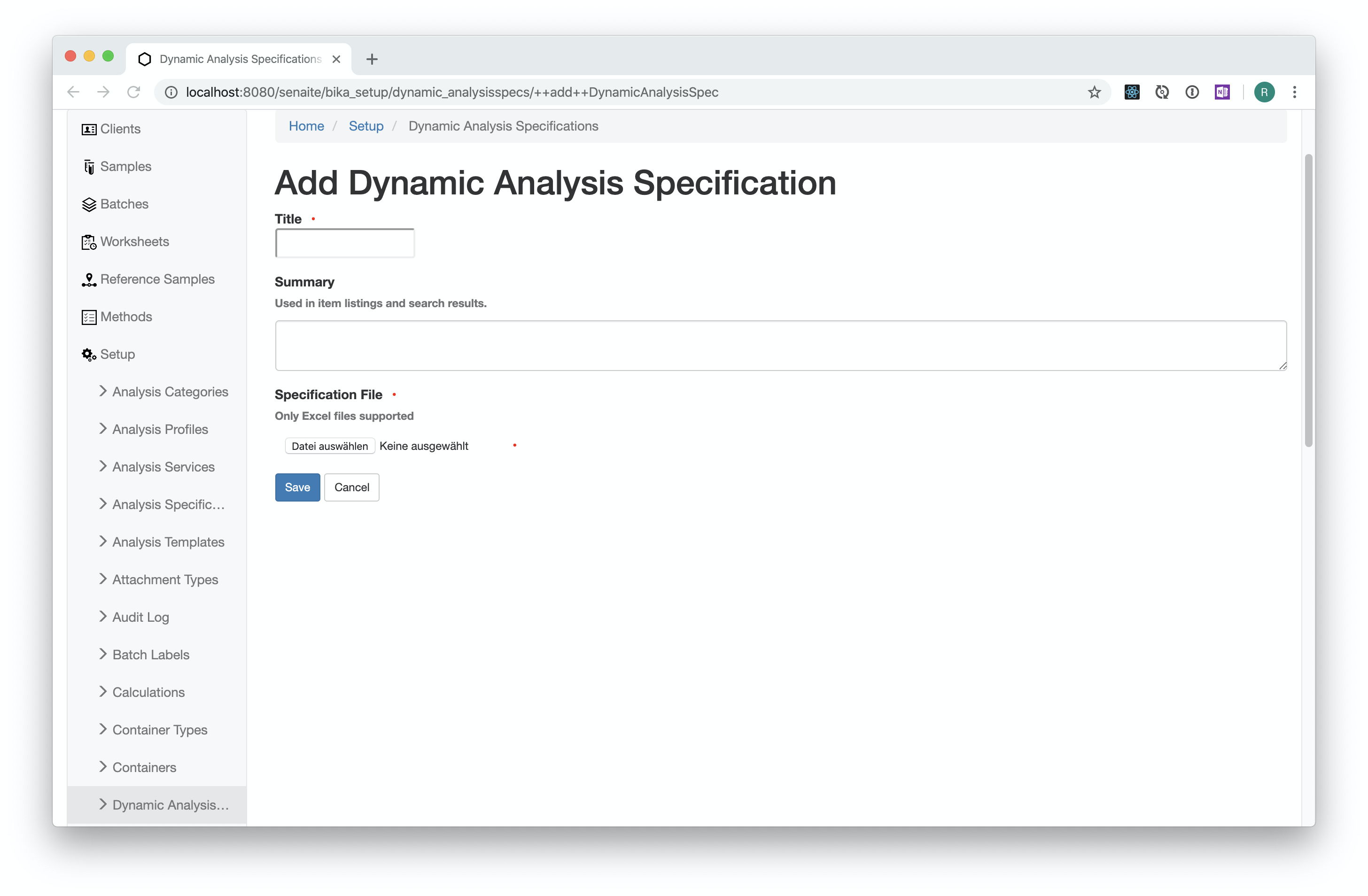 Add Dynamic Analysis Specification
